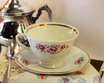 Vintage Footed Tea Cup and Saucer - White with Pink Roses - Hallmark Favolina Made in Poland Numbered perfect for bridsl shower