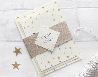 Starry wedding package with glitter gold bellyband, winter wedding invitation package, Christmas wedding invite, elegant wedding invitation