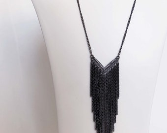 Triangular Rhinestoned Tassel Chained Necklace