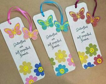 "Custom bookmark. ""Butterflies are self propelled Flowers"" - 1 bookmark, choose your color. Handmade."