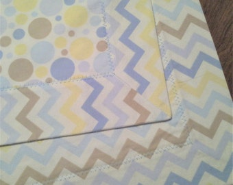 "Dots & Chevron Flannel Baby Blanket 36""x36"" Double Thickness - Free Shipping"