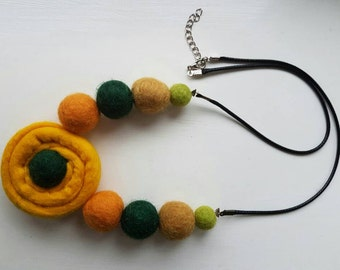 Yellow and green felted necklace