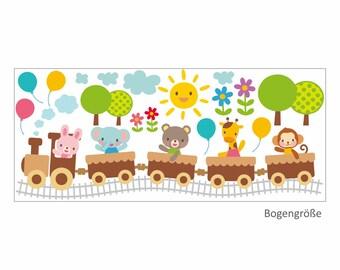019 wall train with animals Bunny bear elephant giraffe monkey balloons * nikima * in 6 verse. Sizes