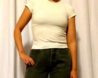 Armani Collezioni Textured Stretch Tee// 1990s Armani Collezioni// Armani tee shirt//1990s designer tee//Armani size 6//Clueless Baby Tee