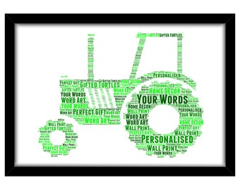 PERSONALISED Tractor Word Art Print Gift Idea Birthday Farmer Farming Work Farm Land Agricultural Harvest Potatoes Plant Machinery PG0564
