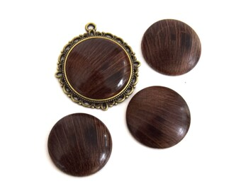 1 round cabochon of oak handmade (handmade product) 25mm ref CB201602 LOT 1