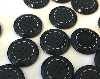 10 Black resin buttons, black stitch buttons, black buttons, 20mm round buttons, stitch detail, blazer buttons, craft buttons, large buttons