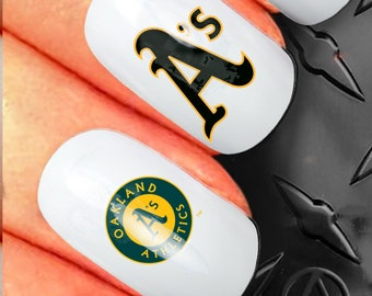 35 Nail Art Decals - American League Baseball Oakland Athlethics N81 - Tattoo free with 5 sets