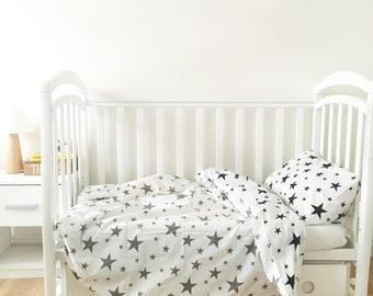 SALE Baby Bedding - Nursery Bedding Set - Black Stars Bedding - Baby Bedding Crib - Unique Bed Clothing - Handmade - Black And White