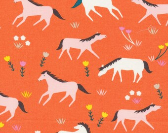 Ponies in Sunset - Stay Gold by Aneela Hoey - Cloud 9 Organic cotton fabric