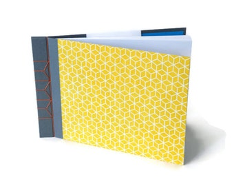 Hardback Stab Bound Sketchbook or Journal - Grey Bookcloth, Yellow Lokta Paper and Orange Linen Thread