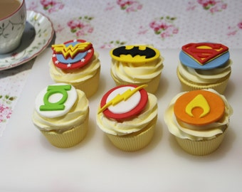 Justice League Superhero Edible Fondant Cupcake Toppers