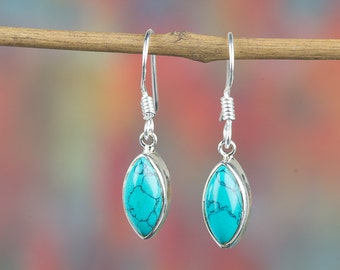 Turquoise Earring, Turquoise Silver Earring, Vintage Earring, Handmade Jewelry, Gypsy Earring, Turquoise Jewelry, Gift For Her, BJE-340-TU