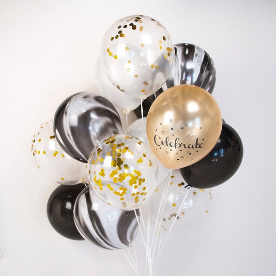 Gold and Black Marble Confetti Balloon Bouquet