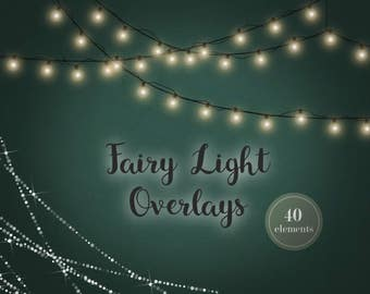 Fairy light clipart, digital fairy lights, fairy light overlays, Christmas lights, strings of light, glowing lights, clipart, light effects