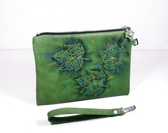 Green clutch purse, leather Pouch, Leather Clutch bag, phone bag, accessory bag, makeup bag, Wallet, Scrip, handmade purse