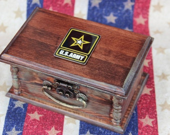 Custom Army ACU Engagement Ring Box Wedding Veteran Challenge Coin Holder Promotion American Patriot Personalized Script Military Baggage