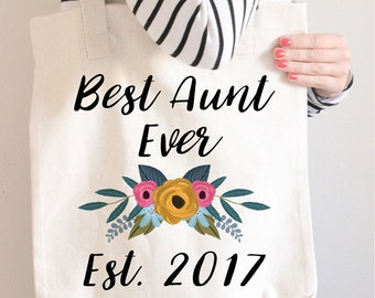 BAE Best Aunt Ever Tote Bag, BAE Best Auntie Ever Tote Bag, Gifts for Aunts, Aunt Gift, Auntie Gifts, Aunt Birthday Gift, Floral Tote Bag,