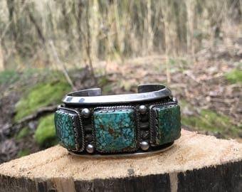 Large Three Turquoise Ston Cuff Bracelet
