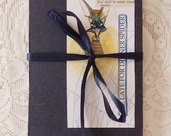Spider storybook, handmade concertina artist book, beastiary story, spider webs