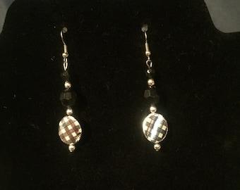 Homemade Black and Silver Dangle Earrings