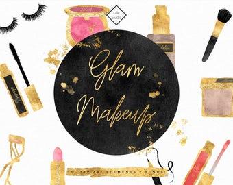 Makeup Clipart - Beauty Cosmetics Blog Clip Art Gold Foil Glam Doodles Lipstick Lipgloss Eyeshadow Mascara False Lashes Digital Illustration