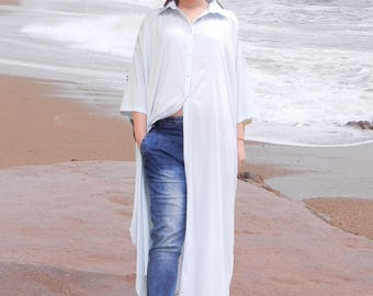 Maxi Silk Abaya Dress, Long Oversized Loose Shirt, Summer Beach Plus Size Dress, White Kaftan, Loose Comfy Woman Shirt, Linen Long Shirt