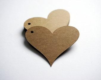 20 Kraft Paper Heart Tags
