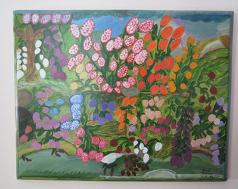 Primative Garden Painting on Pine by NC Folk Artist / Outsider Artist Annie Signed and Dated #2