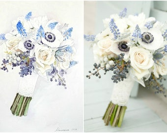 Custom Wedding Bouquet Painting  ORIGINAL Watercolor painting  Briddal Bouquet Painting  Anniversary Gift  Custom painting from photo