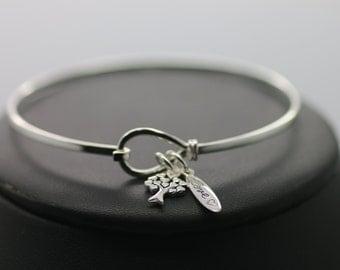 Beautiful .925 Silver Love Tree Locking Charm Bangle Bracelet