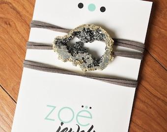 Gray Druzy Wrap Bracelet