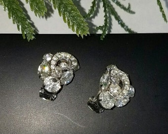 Weiss Sparkling Rhinestone Earrings - 1950s