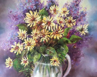 Flowers, bouquet of LILACS and daisies, Flowers, handmade, oil on canvas, 50 X 40 cm, oil on canvas with casting, free shipping!