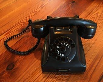 Mid Century Modern Black Bakelite Ericsson Rotary Phone