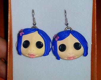 Coraline, Earrings, Polymer Clay, Fimo, Tim Burton