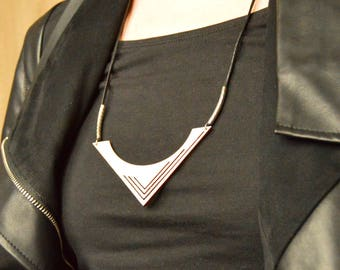 Wooden Geometric Necklace - Wooden Geometric Pendant - Birch Wood Jewelry - Birch Wood Pendant - Laser Cut Pendant - Wood Statement Necklace
