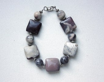 Porcelain Jasper Beaded Bracelet with Silver Plated Spacers