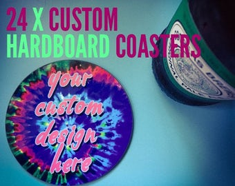 24 x glossy hardboard drink coasters with your photo quality custom design