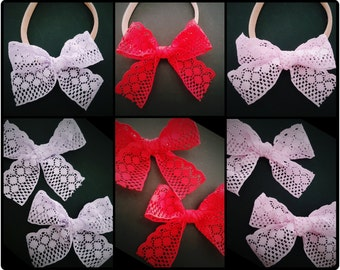 lace bow headband - lace bow clip - red lace bow clip - pink lace bow clip - lavender lace bow - nylon headband - cute baby headband