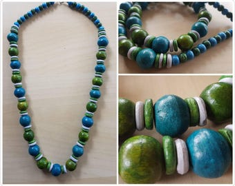 Wodden beaded Blue, Greeen and Grey long neclace - wooden necklace