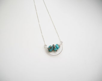 Arc Necklace with Natural Turquoise Beads | Sterling Silver Necklace | Turquoise Necklace