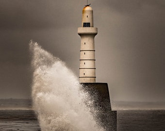 You Don't Argue With The Water Gods. Lighthouse Aberdeen East Scottish Coast, Scotland, UK. Photo Fine Art Print, Contemporary Wall Art