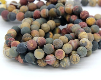 Matte Imperical Jasper Beads 6mm 8mm 10mm Natural Red Green Yellow Beads Multi Colors Gemstones Mala Beads Frosted Imperical Jasper