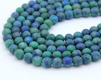 Matte Azurite Chrysocolla Beads 6mm 8mm Azurite Malachite Beads Azurite Mala Beads Green Chrysocolla Beads Green Blue Gemstone Beads