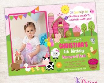 Girly Farm Birthday Invitation , Girl Barnyard Invitation , Birthday Invitation
