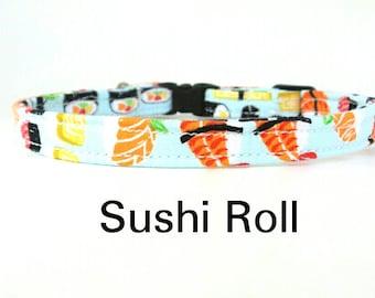 Cat Collar,  Sushi Roll - Kitty Kollar, Sushi Cat Collar,  Feline Collar, Breakaway Collar, Safety Buckle Collar, X small dog collar