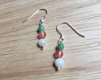 Sterling Silver Moonstone Earrings - Moonstone earrings, green aventurine earrings, cherry quartz earrings, sterling silver earrings