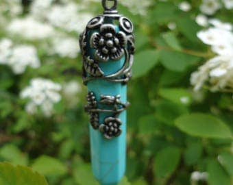 "Necklace pendant ""Obelisk"" in the flowers, synthetic turquoise"
