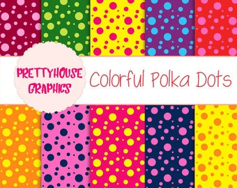 Spotty Colorful Digital Paper Set, Polka dots,